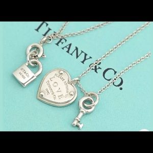 Tiffany & Co delicate heart lock key necklace